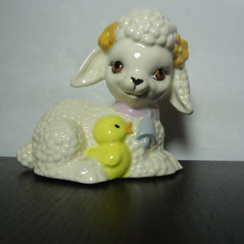 Vintage Ceramic Easter Lamb Figurine with Baby Chick