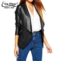 Eliacher Brand Leather Jacket 2015 Winter Jacket Women Chic Fashion Plus Size Casual Women Winter Coats Clothing