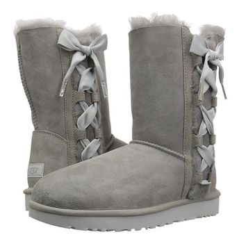 ugg side bow bandage leather shoes boots winter in tube boots shoes-2