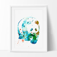 Panda Watercolor Print, Watercolor Painting, Panda Art, Panda Wall Art Poster, Panda Watercolor, Animal Art, Print Art