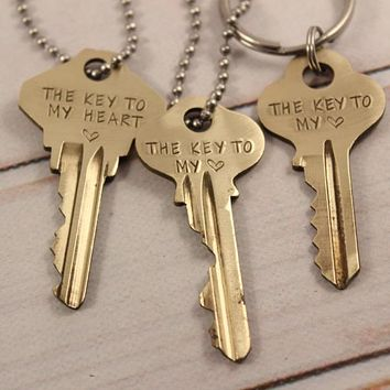 """""""The Key to My Heart"""" - Recycled Key Necklace"""