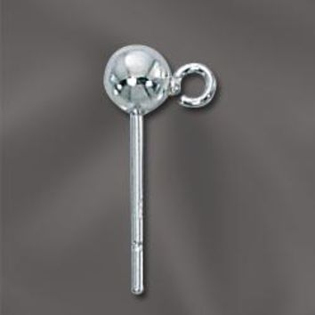 SS/801/4 -  Sterling Silver 4mm Ball Post With Open Ring | 1 Pair