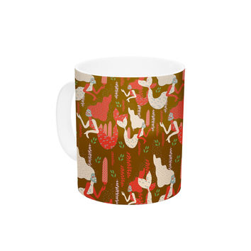 "Akwaflorell ""Mermaids"" Brown Red Ceramic Coffee Mug"