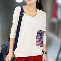 Women Cotton White T-Shirt One Size FZ9236w from efoxcity