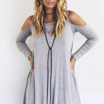 Are You Ready Gray Modal Cold Shoulder Dress