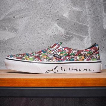 VLXZRBC Trendsetter VANS x Love Me Print Slip-On Old Skool Canvas Flat Sneakers Sport Shoes