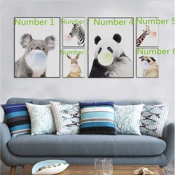 Nordic Kawaii Animal Bubbles Panda Giraffe Dog Canvas A4 Art Print Poster Nursery Wall Picture Kids Room Decor Painting No Frame