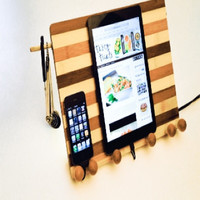 Bamboo Multi Device Dock Cookbook Stand