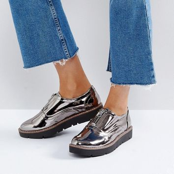 London Rebel Zip Front Flatform Shoe at asos.com