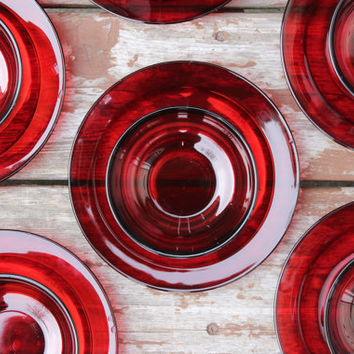 Vintage Durand Arcoroc France Ruby 12 Piece Glass Serving and Dining Set  | Made in France | Wedding or Housewarming Gift