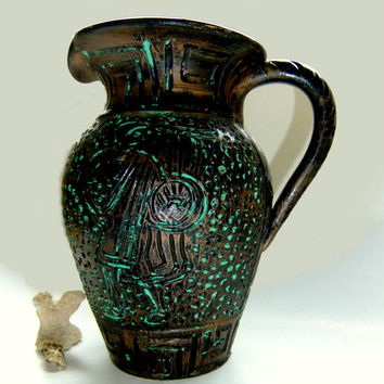 "Vintage Greek Motif Ceramic Vase Urn or Water Pitcher Textured Finish 8"" Grecian Warrior Greek Key Design"