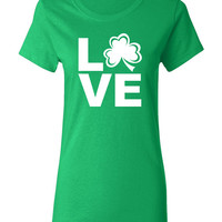 Love St Patrick's Day Womens Cool Tshirt Irish Color Green with White Ink Sizes Available S M L XL 2XL