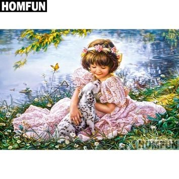 5D Diamond Painting Puppy and the Pink Dress Little Girl Kit