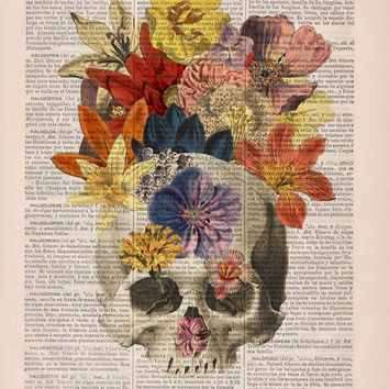 Dictionary Book Print  Flowers and  Skull collage Printed on Vintage Dictionary Book page- Wall decor art