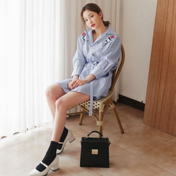 2017 Fashion Preppy Style Embroidery Flower Turn Down Collor Summer Blue Stripe Shirt Dress