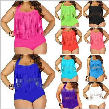 Women's Plus Size Swimming Suit Fringe Bikini Sexy Bathing Suit Long Tassel Swimwear
