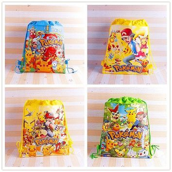 12pcs  Go Pikachu Drawstring Backpack Non-Woven Fabric Loot Bag Gift Bag Kid Boy BirthdayTheme Party supplies DecorationKawaii Pokemon go  AT_89_9