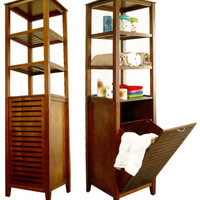 "Spa Bath Tower with Tilting Hamper (Light Walnut) (66.25""H x 17""W x 14.5""D)"