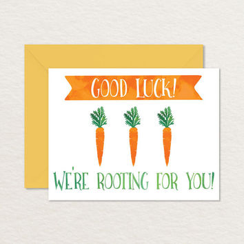 Good Luck A2 Printable Greeting Card / Good Luck Carrots / Encouragement Card / Support Card