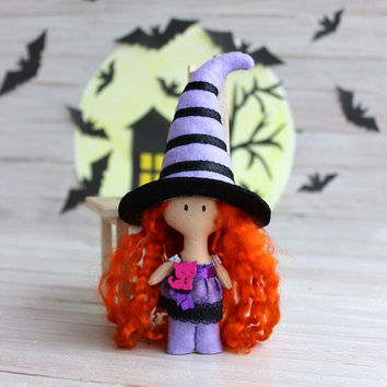Cloth doll  Witch Halloween, Rag doll Witch, child friendly, pocket doll,doll with redhead hair, gift for Halloween, gift for girls