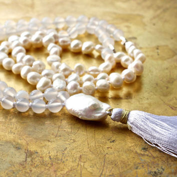 White agate mala Pearl mala beads 108 Baroque keshi pearl necklace Healing intention mala Yoga jewelry Yogi gift Japa mala for meditation