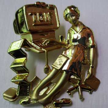 Vintage Pin Brooch AJC- Administrative Assistant Secretary- unique gift under 20- made in the USA-vintage jewelry collectible