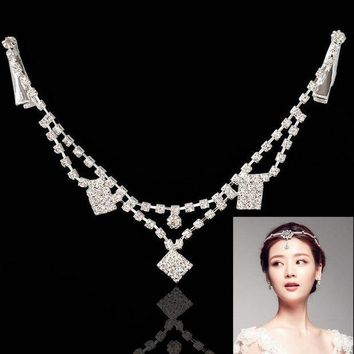 PEAP78W F&U Rhombic Silver Color Zinc Alloy Dangle Charm Claw Forehead Chain Hair Jewelry for Girls Gift