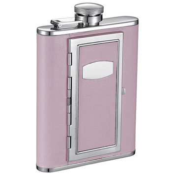 Visol Fiore Leatherette Hip Flask with Built-In Cigarette Case - 6 oz