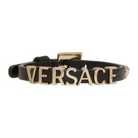 Black Leather Logo Bracelet
