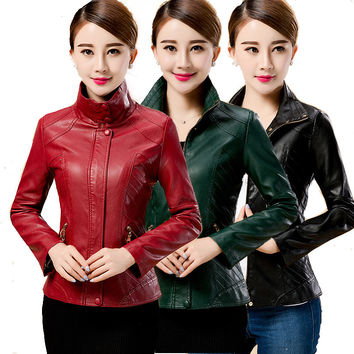 New Spring Women Leather jacket Zipper Coat for lady spring Autumn Slim Fit long sleeve outfits Hot Sale