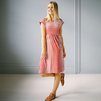 Rockham Stripe Dress - Coral | Called To Surf
