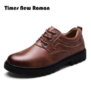 Times New Roman Men Leather Shoes Casual Genuine Leather Shoes Men Oxford Fashion Lace Up Dress Shoes Outdoor Work Shoes
