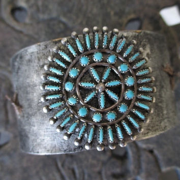 Vintage turquoise leather cuff - Boho Corsage - distressed leather bracelet southwestern Native American Navajo country boho OOAK slashKnots
