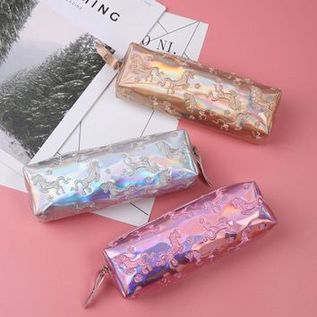 Cute Unicorn Pencil Case Laser Pen Bag for girls Cosmetic Bag Stationery Makeup Pouch Big Capacity School Supplies
