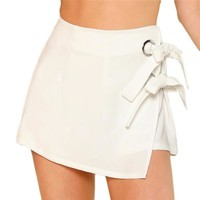 Side Bow Tie Knotted Overlap Wrap Shorts