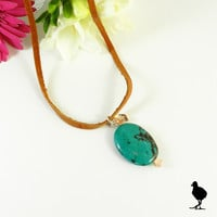 """Medium Brown leather 26"""" Necklace with Turquoise pendant with heart charm"""