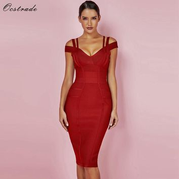 Ocstrade New Women Bodycon Dress Summer Sexy Bandage Off Shoulder Sexy High Quality Wine Red Bandage Dress Rayon Plus Size