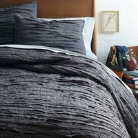 Frayed-Edge Quilt + Shams - Slate
