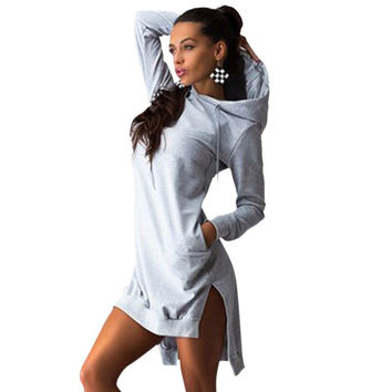 Sexy Women Casual Hat Hoodie Tops Long Sleeve Workout Sweatshirts Hooded Mini Dress 3 Colors