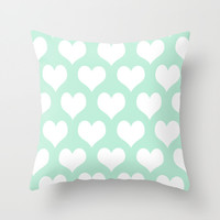 Hearts of Love Mint Green Throw Pillow by BeautifulHomes | Society6