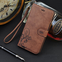 Retro Vintage Design PU Leather Case For iphone 5 5S SE 5G 6 6 Plus Stand Wallet Card Slot  Mobile Phone Cover Capa Funda Case