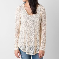 Women's Lace Hoodie in Cream by Daytrip.
