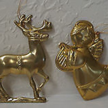 Vintage 1950's Brass Holiday Ornament Collection Angels Candle Holder & Reindeer