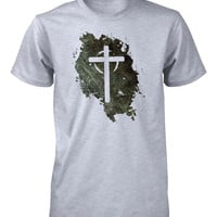 Jesus Lives Cross Grunge Easter Christian Tshirt for Men
