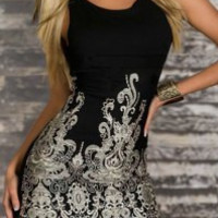 Black Floral Embroidered Bodycon Dress
