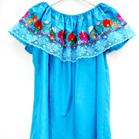 Mexican blouse, Blue Embroidered blouse, Bohemian clothing, Bohemian blouse, Women's Clothing, Embroidered top, Womens tops, Blue boho shirt
