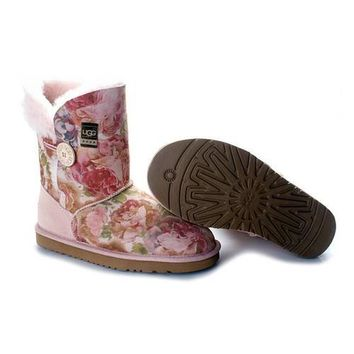 Uggs Boots Cyber Monday Bailey Button Fancy 5809 Pink For Women 85 77