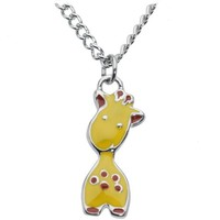 Body Candy Stainless Steel Chain Yellow Enamel Baby Giraffe Pendant Necklace, 18""