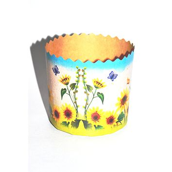 "Easter bread baking paper form ""Sunflowers"". 3.5 inches - 3.5 inches. 250 grams Paska"
