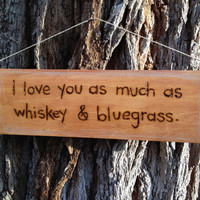"Woodburn quote sign by begonia08 on Etsy ""I love you as much as whiskey and bluegrass."""